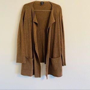 Eileen Fisher long brown knit cardigan sweater 1X